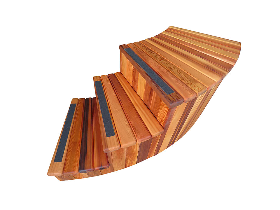 Paradise Hot Tubs   Curved Cedar Stairs